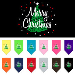 Merry Christmas green tree dog bandana