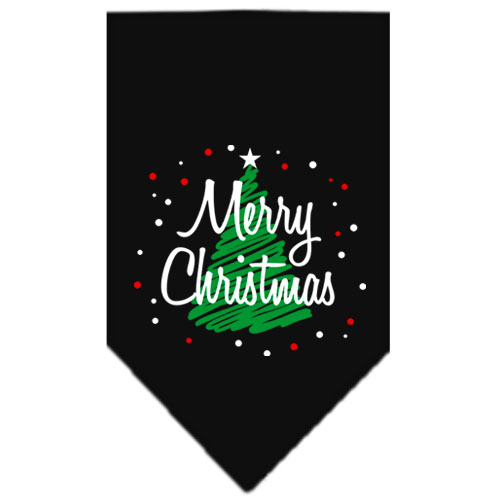Merry Christmas green tree dog bandana black