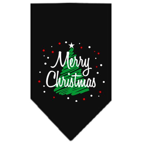 Merry Christmas green tree dog bandana black