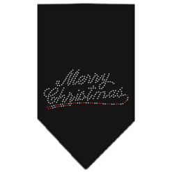 Merry Christmas rhinestone dog bandana black