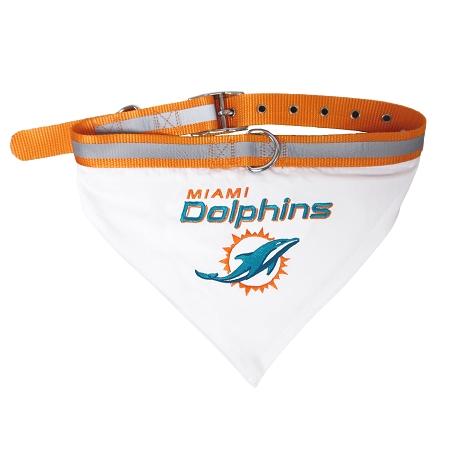 Miami Dolphins Adjustable Dog Collar and Bandana