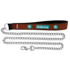 Miami Dolphins NFL leather dog chain leash