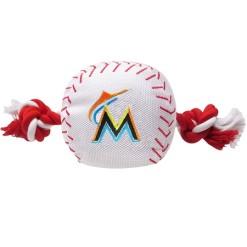 Miami Marlins MLB baseball dog toy and rope