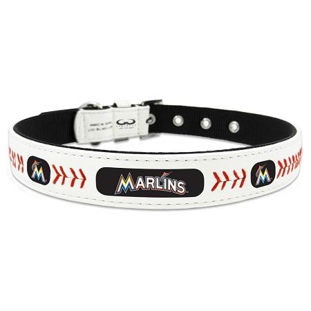 Miami Marlins leather dog collar