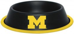 Michigan Wolverines NCAA Stainless Black Dog Bowl