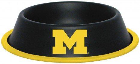 Michigan Wolverines NCAA Stainless Black Dog Bowl