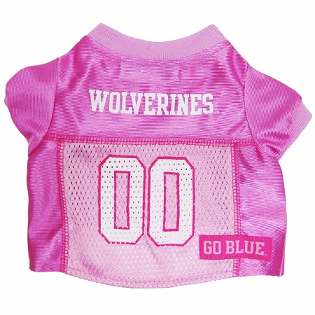 Michigan Wolverines pink NCAA dog jersey