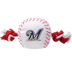 Milwaukee Brewers MLB baseball dog toy and rope