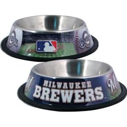 Milwaukee Brewers Stainless Dog Bowl