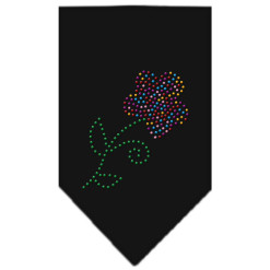 Multi-colored flower rhinestone bandana black