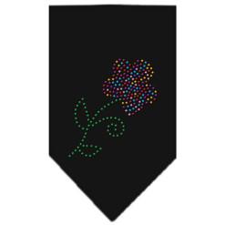 Multi-colored flower rhinestone bandana black