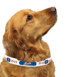 NY Mets MLB leather dog collar