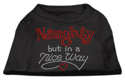 Naughty but nice Santa rhinestones dog t-shirt black