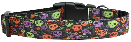 Neon Skulls Halloween adjustable dog collar confetti