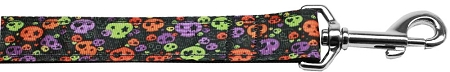 Neon Skulls Halloween nylon dog collar confetti