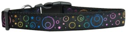 Neon Spiral Galaxies and Stars adjustable dog collar