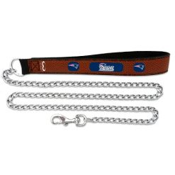 New England Patriots NFL leather dog chain leash