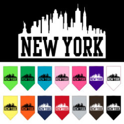 New York silhouette skyline dog bandana