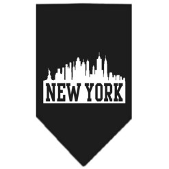 New York silhouette skyline dog bandana black