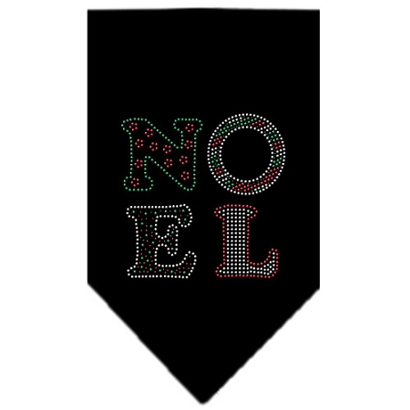 Noel Christmas rhinestone dog bandana black