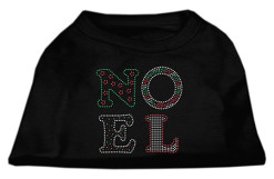 Noel Christmas rhinestones dog t-shirt black