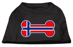 Norway flag bone shape outline sleeveless dog t-shirt black