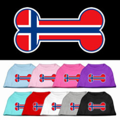 Norway flag bone shape outline sleeveless dog t-shirt multi color