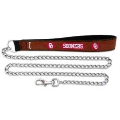 Oklahoma Sooners leather chain dog leash