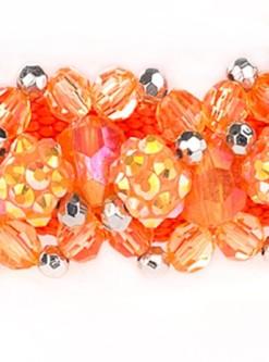 Orange Beeded Dog Collar Fireball