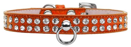 Orange Dog Collar with Czech Crystals