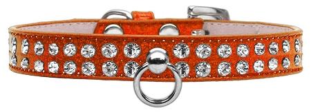 Orange Dog Collar with Czech Crystals