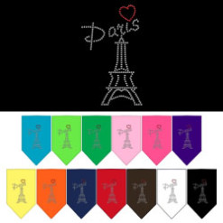 Paris Eiffel Tower heart rhinestone dog bandana