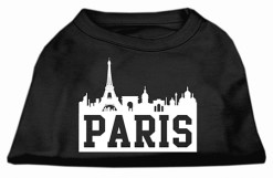 Paris France Skyline Screenprint t-shirt sleeveless dog black