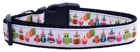 Partying Owls Adjustable Dog Collar