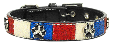 Patriotic Red, White & Blue Leather Dog Collar with Dog Paw Accents