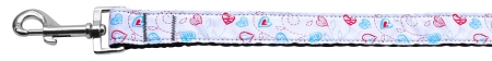 Patriotic Red White and Blue Heart Shaped Flower on Stems Dog Leash
