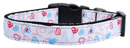 Patriotic Red White and Blue Heart Shaped Flower on Stems Collar Dog