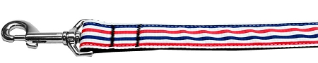 Patriotic Red White and Blue Stripes Dog Leash