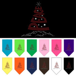 Peace Christmas tree rhinestone dog bandanas