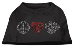 Peace Love and Dog paw rhinestones dog t-shirt black