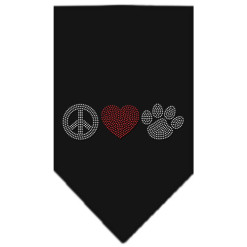 Peace Love and dog paw rhinestone dog bandana black
