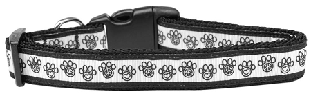 Peace Sign and Hearts Dog Paw Adjustable Dog Collar