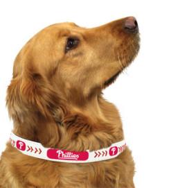 Phillies MLB leather dog collar