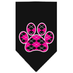 Pink Argyle dog paw bandana black
