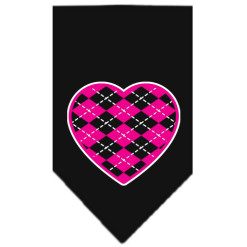 Pink Argyle heart dog bandana black
