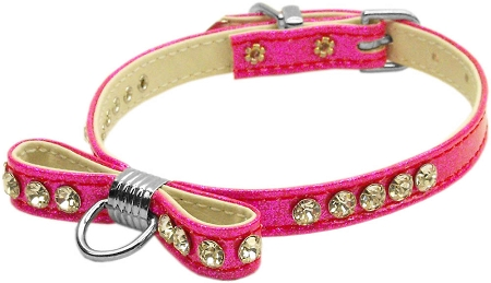 Pink Bow Dog Collar with Crystals