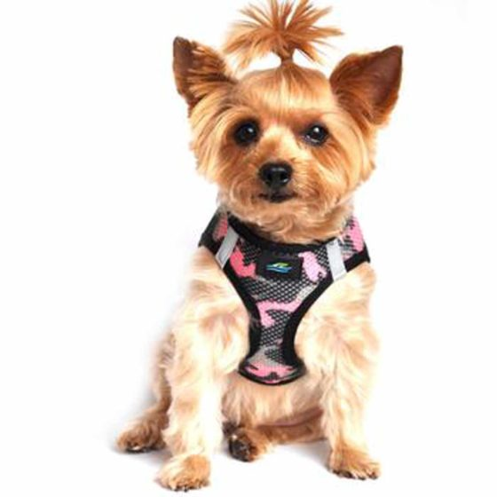 Pink Camouflage American River Dog Harness on pet