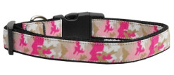 Pink Camouflage Dog Collar Adjustable Dog Collar