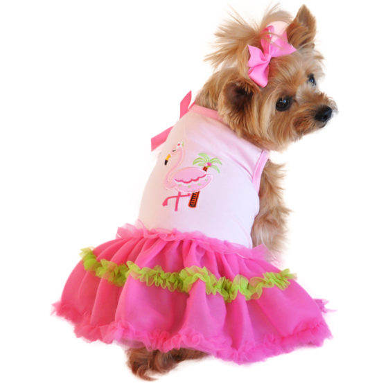Pink Flamingo and Palm Tank Dog Dress