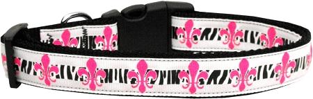 Pink Fleur de Lis Dog Collar Zebra Print
